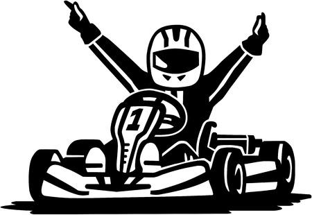 Ilustración de Kart racing winner - Imagen libre de derechos