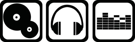 Illustration pour DJ icons - vinyl, headphones, equalizer - image libre de droit