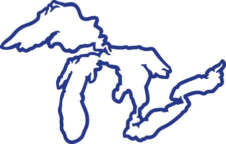 Ilustración de Great Lakes silhouette contour - Imagen libre de derechos