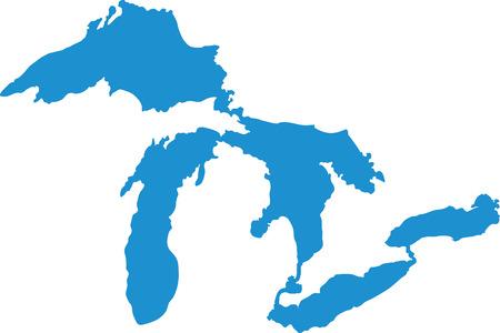 Ilustración de Great Lakes silhouettes - Imagen libre de derechos