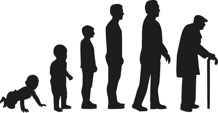 Illustration pour Life cycle evolution - from baby to old man - image libre de droit