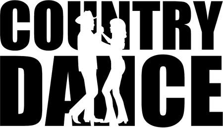 Illustration pour Country dance word with cutout silhouette - image libre de droit