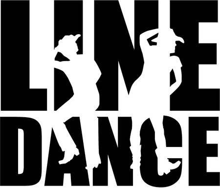 Illustration pour Line dance word with silhouette - image libre de droit