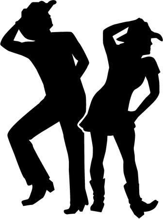 Illustration pour Line dancing silhouette man and woman - image libre de droit