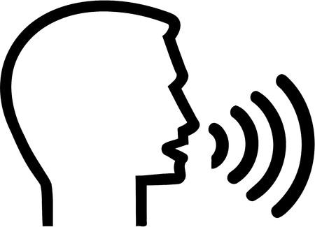 Illustration pour Icon with head speaking - Speech therapist - image libre de droit