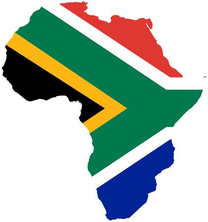 Illustration pour South Africa flag continent silhouette - image libre de droit
