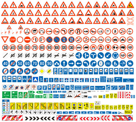 Illustration pour European traffic signs collection  Signs of danger  Mandatory signs Signs of obligations  Signs of alerts  Supplementary tables  Tables of routing  Temporary traffic signs  308 signs, vector   - image libre de droit