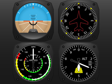 Illustration pour Airplane flying instruments vector - image libre de droit