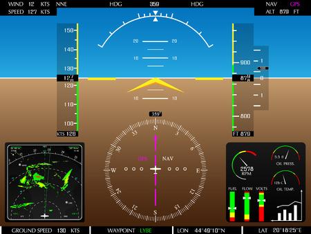 Illustration pour Airplane glass cockpit display with weather radar and engine gauges  - image libre de droit