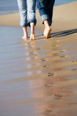 Photo for footprints in the sand - Royalty Free Image