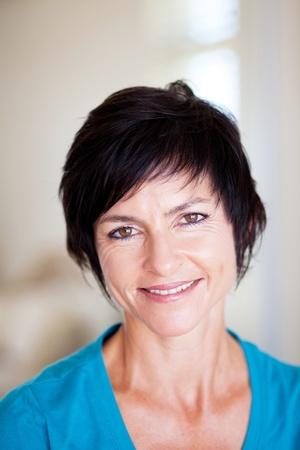 elegant middle aged woman closeup portrait