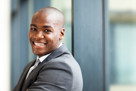 young male african american business owner closeup portrait