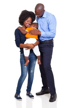 Photo for happy young african family full lenght portrait isolated on white background - Royalty Free Image