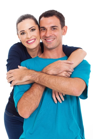 Photo for portrait of young happy smiling couple isolated over white background - Royalty Free Image