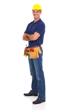 Photo for portrait of happy handyman isolated on white background - Royalty Free Image