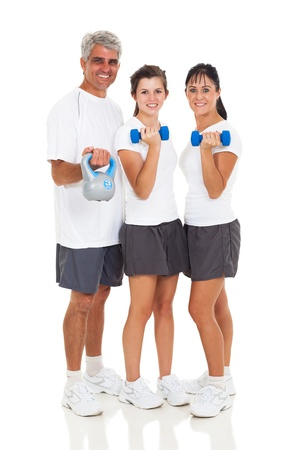 healthy family exercising on white background