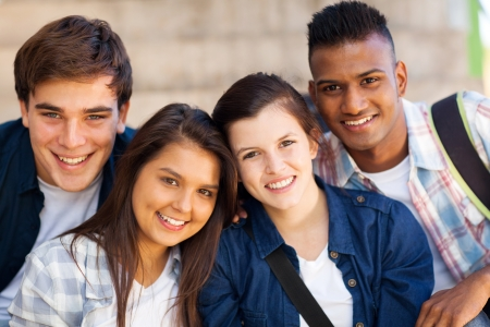 Photo for group of happy teen high school students outdoors - Royalty Free Image