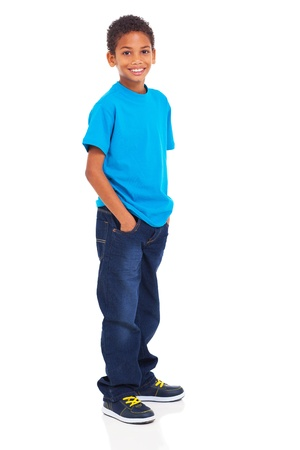 Photo pour cute indian boy standing isolated on white background - image libre de droit