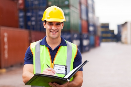Photo for young harbor container depot worker  - Royalty Free Image