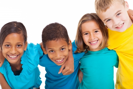 Foto per group of multiracial kids portrait in studio on white background - Immagine Royalty Free
