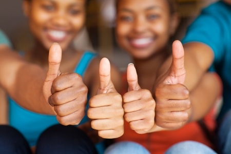 Photo for group of african friends thumbs up closeup - Royalty Free Image