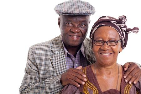 Foto de close up portrait of senior african couple on white background - Imagen libre de derechos
