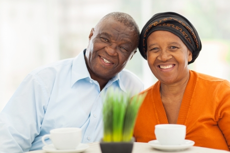 Photo for cute senior african couple portrait at home - Royalty Free Image