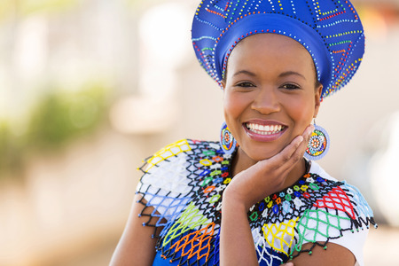 Photo for close up portrait of cute south african woman outdoors - Royalty Free Image