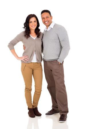 Photo pour cute mid age couple hugging on white background - image libre de droit
