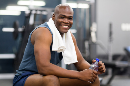 Photo for healthy african american man resting after workout - Royalty Free Image