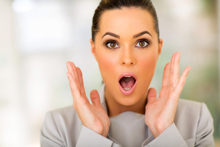 Photo for portrait of beautiful surprised businesswoman - Royalty Free Image