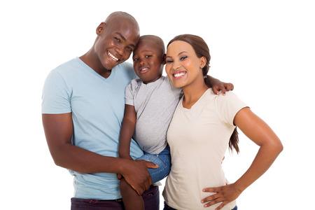 Photo pour young happy african american family on white background - image libre de droit
