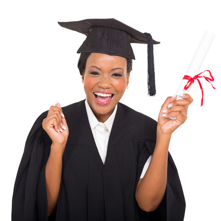 Photo for cheerful african american graduate student with diploma in her hand - Royalty Free Image