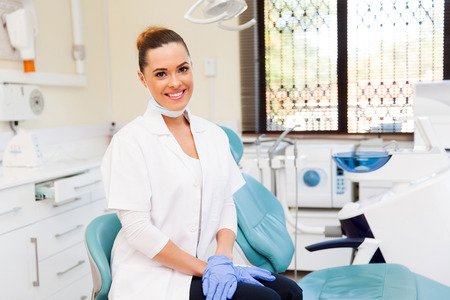 Photo for portrait of young female dentist in office - Royalty Free Image