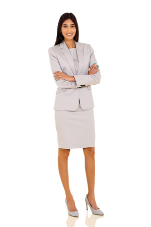 Foto de attractive young indian businesswoman posing on white background - Imagen libre de derechos