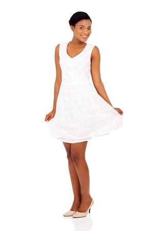 gorgeous african female model posing on white