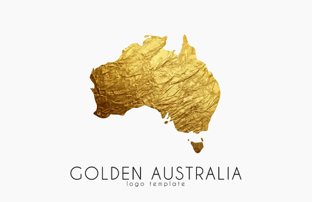 Illustration pour Australia map. Golden Australia logo. Creative Australia logo design - image libre de droit