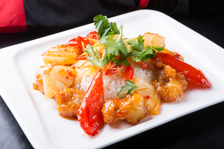 Photo for Traditional chinese sweet chicken with rice dish - Royalty Free Image