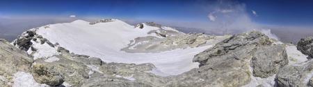 Scenic panorama of crater on Damavand volcano, highest peak in Iran