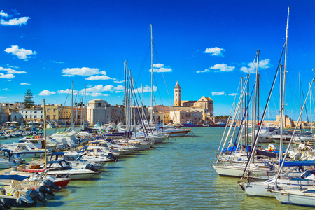 Photo for View of a nice fishing harbor and marina in Trani, Puglia region, Italy - Royalty Free Image