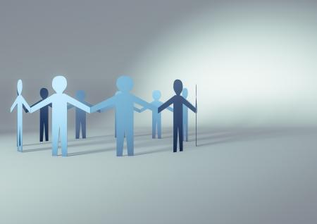 Photo pour 3d render of paper people in a circle - image libre de droit