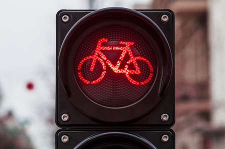Foto de Bicycle traffic signal, red light, road bike, free bike zone or area, bike sharing - Imagen libre de derechos
