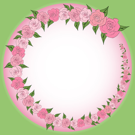 Illustration pour A round frame decorated with a wreath from gradually decreasing, increasing roses with leaves with space for text. Tenderness, wedding - image libre de droit