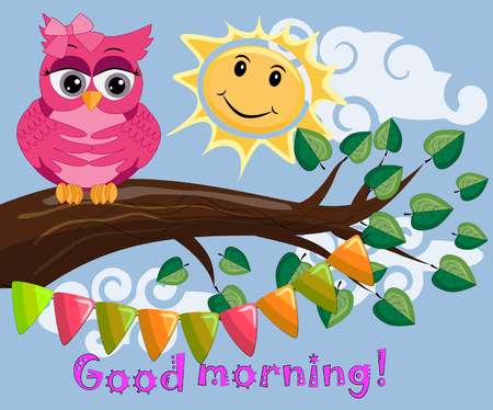 Illustration for An unhappy, sleepy owl on a tree branch in the morning, the sun shines and smiles. Has inscription of good morning. - Royalty Free Image