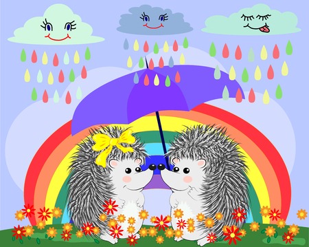 Two  lovers cute cartoon hedgehogs, a boy and a girl near a seven-colored rainbow on a spring, summer day Vector illustration.