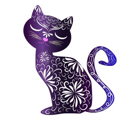 Ilustración de Elegant cat, silhouette, hand-painted in Indian style, print, design. The concept of grace, beauty of a cat, a unique pattern - Imagen libre de derechos