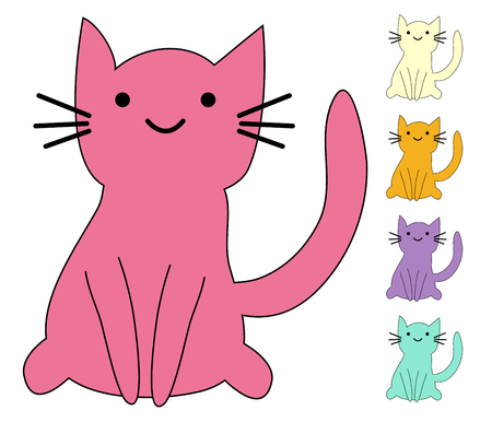Illustrazione per Set of cute cats in simple design for kid's greeting card design, t-shirt print, inspiration poster - Immagini Royalty Free