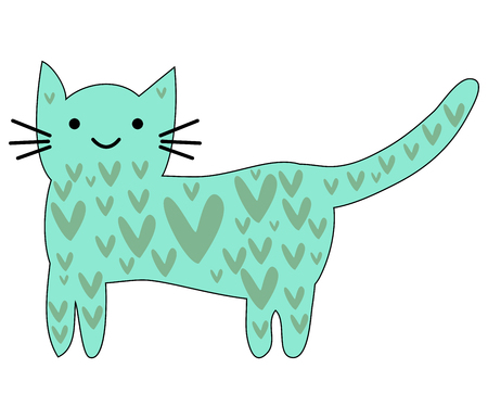 Illustrazione per Hand Drawn Cute lovely cute cat. Children's design poster. - Immagini Royalty Free