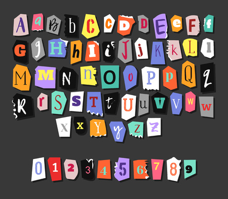 Illustration for Colorful Newspaper alphabet. Hand made anonymous set. Vector Letters, numbers - Royalty Free Image