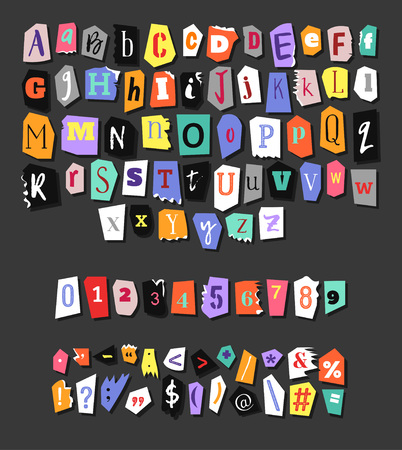 Illustration for Colorful Newspaper alphabet. Hand made anonymous set. Vector Letters, numbers and punctuation marks - Royalty Free Image